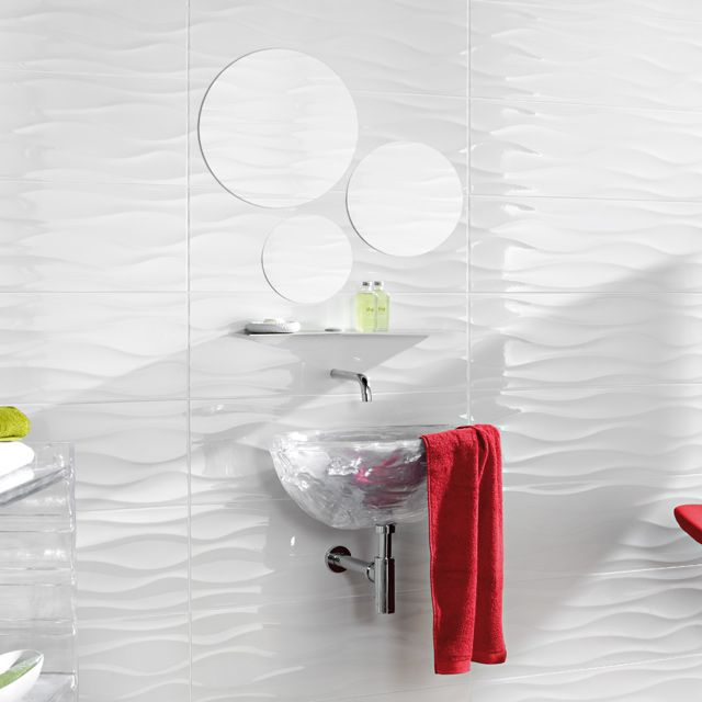 carrelage mural blanc d cor 3d 25 x 75 cm danka castorama bathroom pinterest carrelage. Black Bedroom Furniture Sets. Home Design Ideas