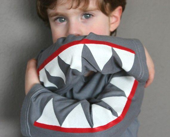 I know one (big) boy who'd love this!  Shark teeth shirt.