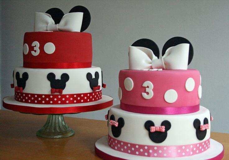 mickey and minnie birthday cake | lauralovescakes...: Minnie & Mickey Birthday Cakes