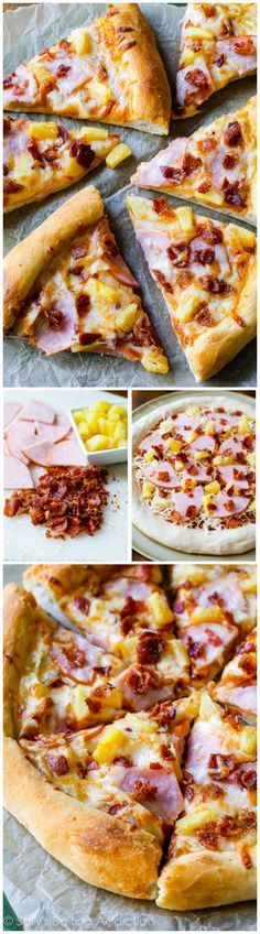 The BEST Hawaiian Pizza you'll ever make. Made on my kitchen tested fluffy homemade pizza crust. AMAZING.