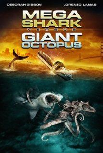 """Mega Shark vs Giant Octopus"" - this might be the beginnings of ""Sharktopus"". It features a mega shark that flies and, surprise, a giant octopus."