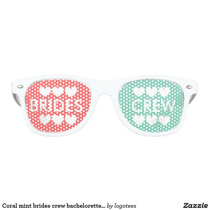 Coral mint brides crew bachelorette party shades Coral pink and mint green brides crew bachelorette party shades. Funny personalizable duotone / two colored props for friends of soon to be married women. Cool wedding / marriage accessory for brides entourage, bridesmaid, maid of honor, flower girl, jr. junior bridesmaid etc. Crazy girls night out / girls weekend party / Ladies night / bridal shower gathering. Cute team bride sunglasses with custom personalized text and little love hearts…