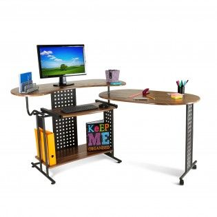 Folding Modern L Shaped PC Desk in Walnut http://abreo.co.uk/