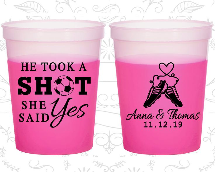 He Took a Shot, She Said Yes, Custom Mood Stadium Cups, Soccer Wedding, Sports Wedding, Magenta Mood Cups (322)