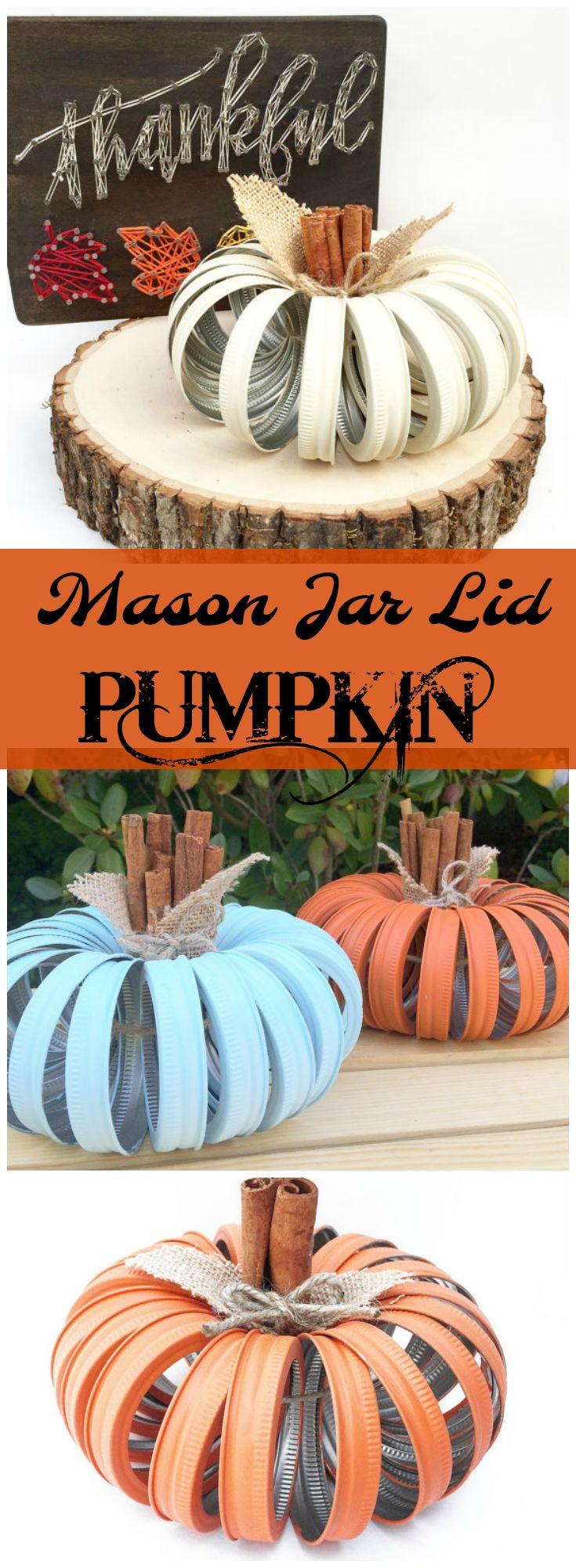 Adorable Mason Jar Lid Pumpkin. I love everything about these--Rustic, Hand painted, Cinnamon Stick Stems, Burlap Leaves, Jute Twine Bow. Autumn Decor Heaven! #Fall #Rustic #MasonJar