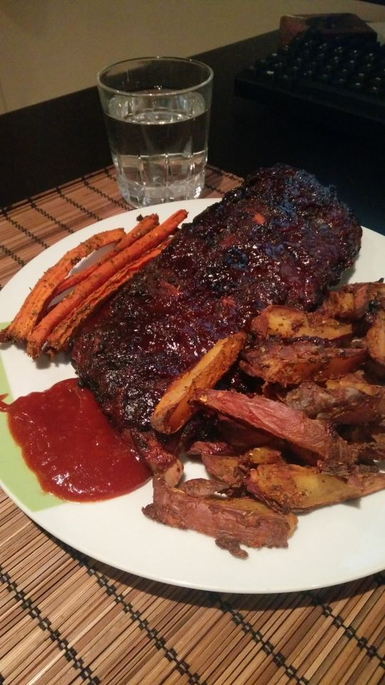 Marinated Pork Ribs Glazed With Homemade BBQ Sauce Served With Potato Wedges And Roasted Carots [OC][540x960]