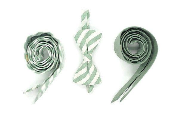 Slim Stripe Dusty Shale Green tiespattern by Kraft2Kotton1Korner