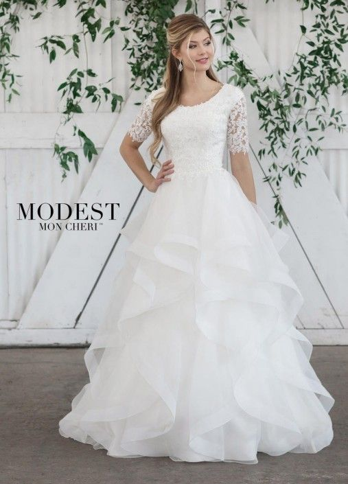 Mon Cheri Tr21860 Ruffled Modest Wedding Dress Ball Gown Wedding