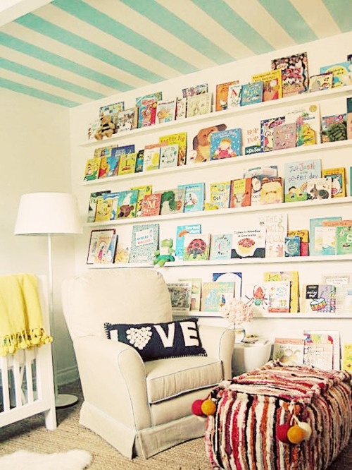 love this kids room with book wall and striped ceiling