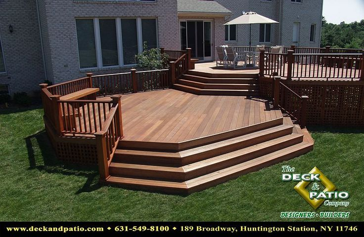 Multilevel Mahogany deck with wrap around steps and rails