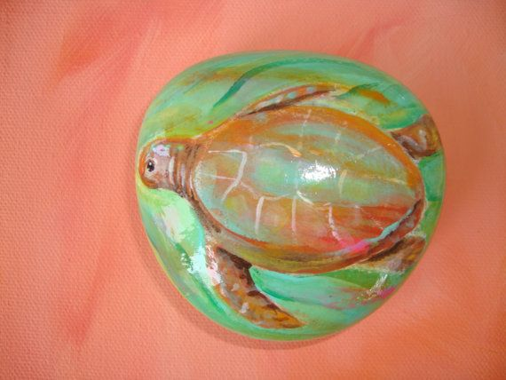 Amazing Sea Turtles Hand Painted Rock With Turtle