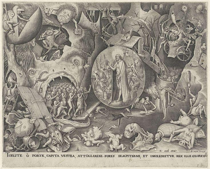 Pieter van der Heyden | Christus in het voorgeborchte, Pieter van der Heyden, Hieronymus Cock, 1559 - 1563 | Christus daalt af in het voorgeborchte van de hel vergezeld door engelen. Hij redt de zielen uit de hellemond links. Rondom duivels, demonen en monsters. Onder de voorstelling een regel tekst in het Latijn.