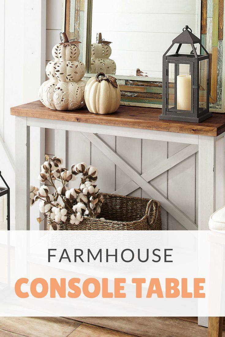 I love this farmhouse white small console table homedecor
