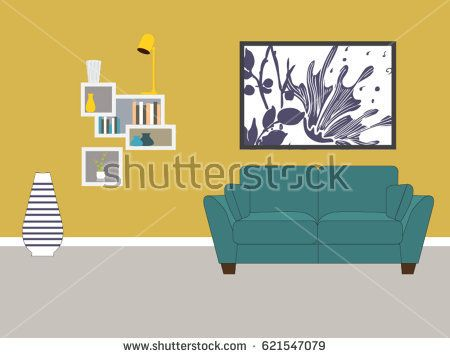 Living room with furniture interior design vector format