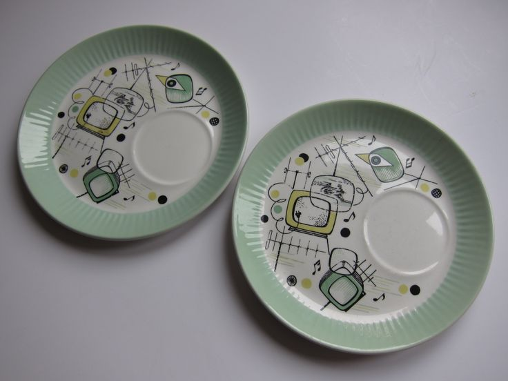 2 Figgjo Flint TV snack plates in mint green. These were designed by Rolf Frøyland in the 1960s when television was introduced in Norway. I found these online in February 2013, talk about hitting the jackpot!