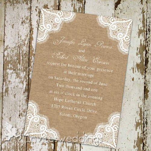 Rustic Lace Burlap Wedding Invitations