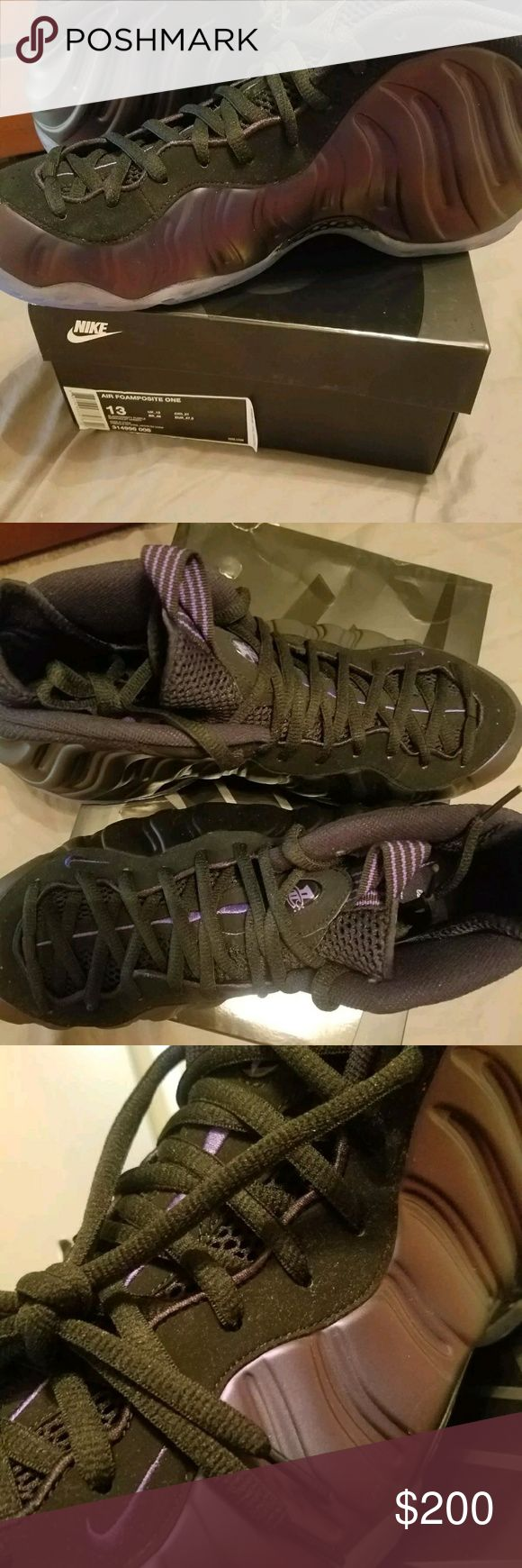 Mens Nike Air FOAMPOSITE SIZE-13 Brand new size 13 Air Foamposite One Color is Black with an amazing Varsity Purple.These sneakers are 100% perfect! This color combination is perfect for all seasons. These sneakers can be dressed up or down depending on your mood. MSRP- $230 Nike Shoes Sneakers