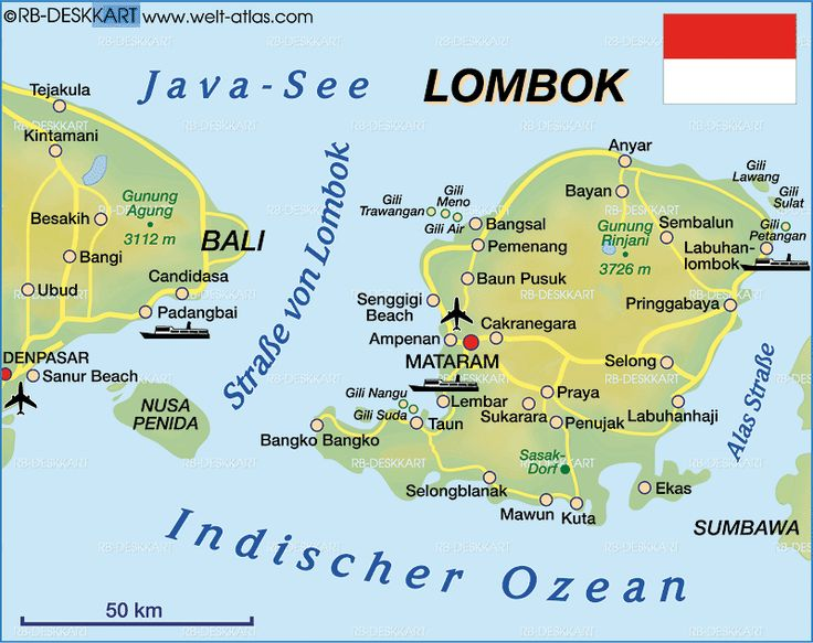 Map of Lombok (Indonesia)