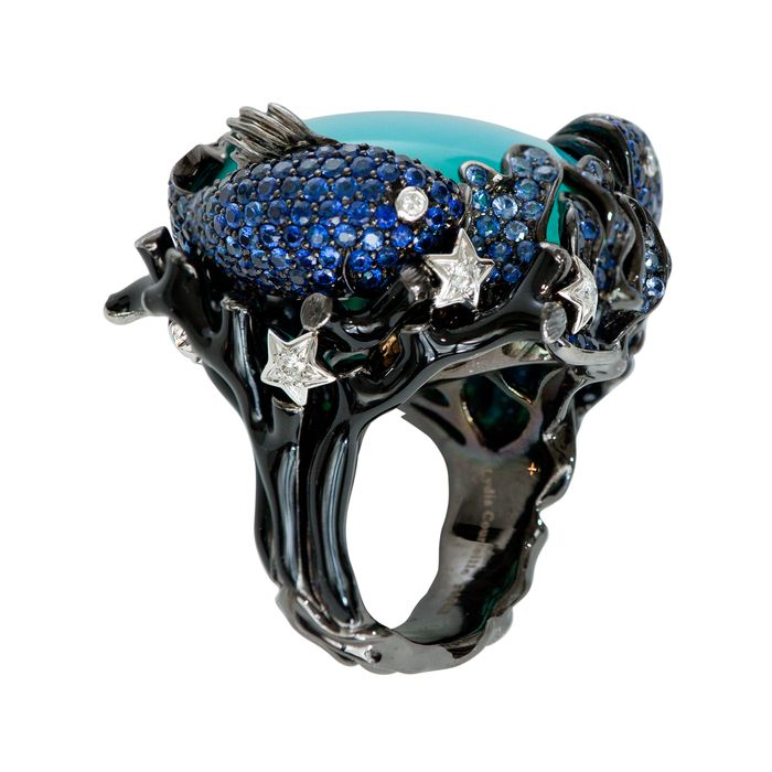 LYDIA COURTEILLE ~ Sapphire Fish Swim In A Lagoon Of Azure Blue Agate With Branches Of Black Coral. With Shimmering Diamond Starfish. Lagoona Collection Ring With Blue Agate Diamonds And 0.13 Ct Blue Sapphires