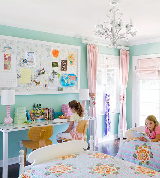 Turquoise is a fun and bright color for little girls' bedrooms! More kid's decorating ideas: http://www.bhg.com/rooms/kids-rooms/girls/bedrooms-for-girls/?socsrc=bhgpin092413turquoisepage=11: Girls Shared Bedroom, Shared Girls Bedroom, Girls Shared Room, Bright Color, Kids Room, Shared Girls Room, Bedroom Ideas, Girl Rooms