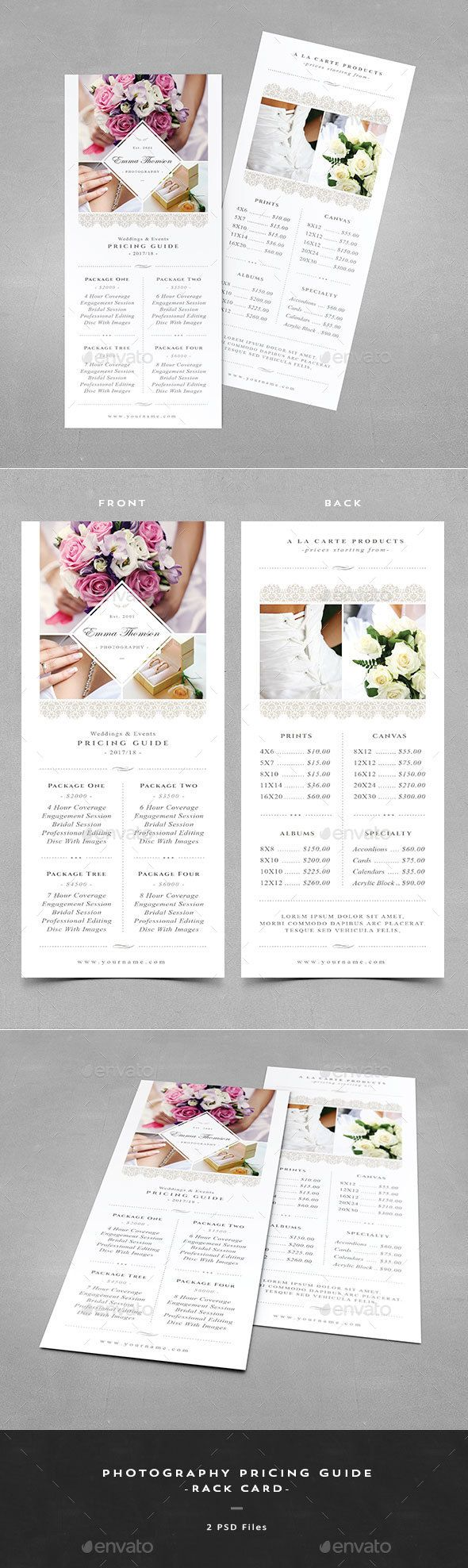 Photography Pricing Guide - Rack Card - Corporate Flyers