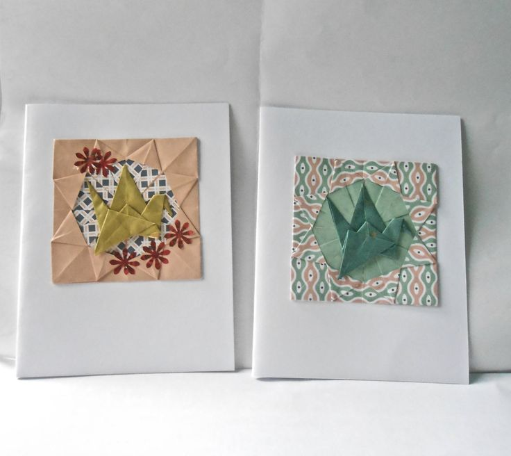Handmade greeting cards using 2 traditional origami models: flapping bird and medallion
