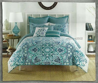 Anthology Kaya Teal Blue Green 3pc Full Queen Comforter Set Bohemian Floral New | eBay