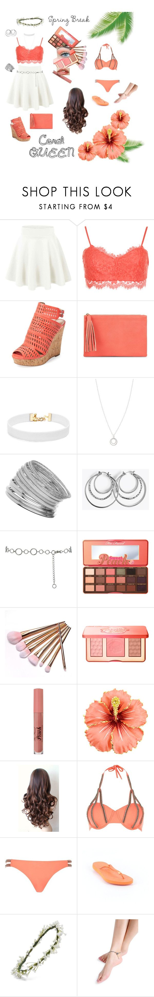 """""""Spring Break ~ Coral Queen"""" by trin101915 ❤ liked on Polyvore featuring WearAll, Charles by Charles David, Jessica McClintock, Vanessa Mooney, Accessorize, Miss Selfridge, M&Co, Too Faced Cosmetics, River Island and Havaianas"""
