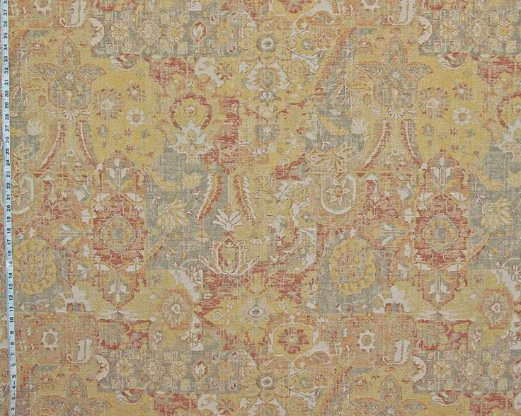 Vintage Arts and Crafts rug fabric yellow orange Craftsman Asian upholstery from Brick House Fabric: Novelty Fabric