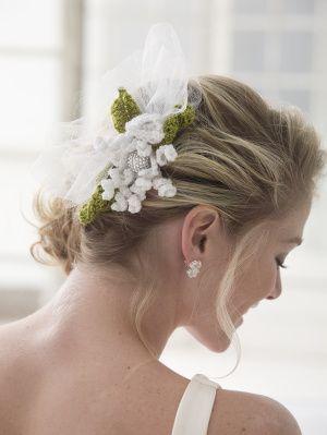 #crochet, free pattern, Fascinator, flower, bouquet, #haken, gratis patroon (Engels), bloem, boeket, haarversiering, bruiloft, huwelijk