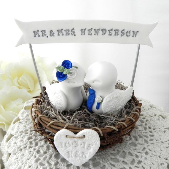 Rustic Love Bird Wedding Cake Topper, White and Royal Blue, in a Nest with Personalized Heart and Banner,