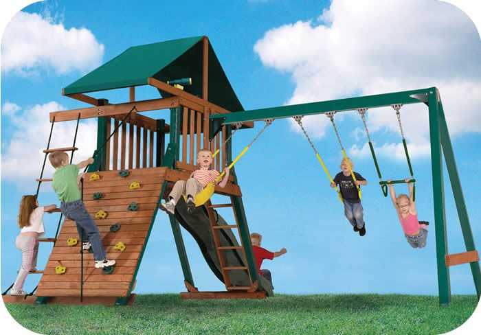 JOYMOR DIY Wooden Swing Set with 2 Swing and Climbing Rope Outdoor Playset