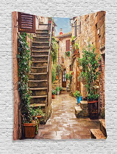 Tuscan Decor Tapestry Wall Hanging by Ambesonne, View of an Old Mediterranean Street with Stone Rock Houses in Italian City Rural Culture Print, Bedroom Living Room Dorm Decor, 60WX80L Inches, Multi