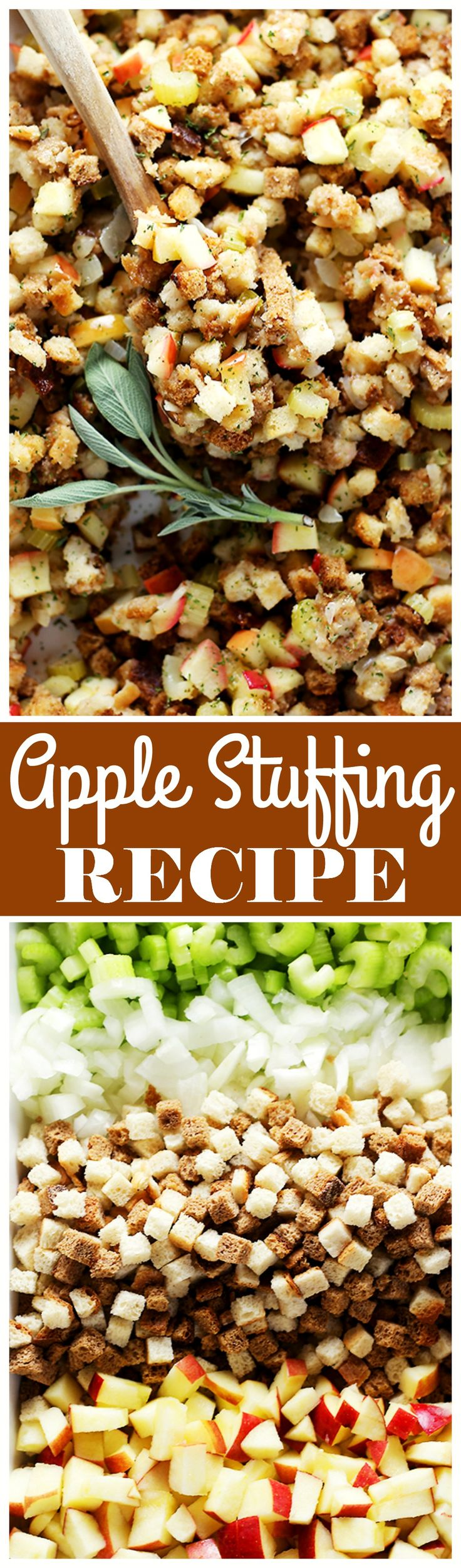 Easy Apple Stuffing Recipe – Very delicious, easy to make turkey stuffing with apples, bread cubes and herbs. Get the recipe at diethood.com