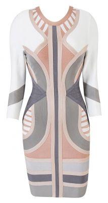 Laurent Nude, Grey  White Mid Sleeve Bandage Dress