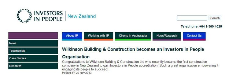 Wilkinson Building and Construction in NZ becomes an Investor in People