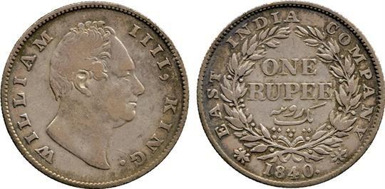 † Coins of India. British India. Silver Rupee mule, 1840, obv of William IV, WILLIAM IIII KING, n