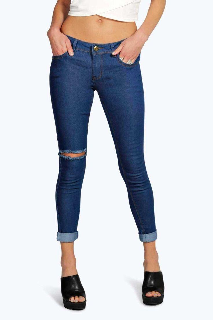 #FashionVault #boohoo #Sale #Women - Check this : boohoo Gloria Low Rise Slit Knee Skinny Jeans - indigo for $46 USD instead of $18 #OnSale