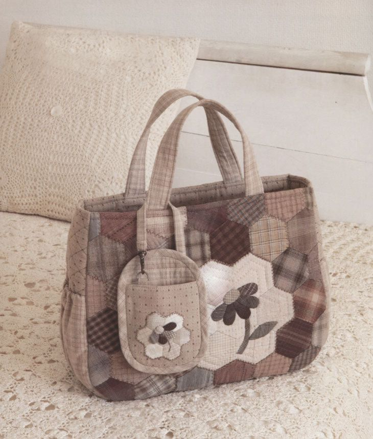 Set shoulder tote Bag Handbag purse and mobile phone iphone holder case sewing quliting quilt patchwork applique pdf pattern patterns ebook. $6.00, via Etsy.