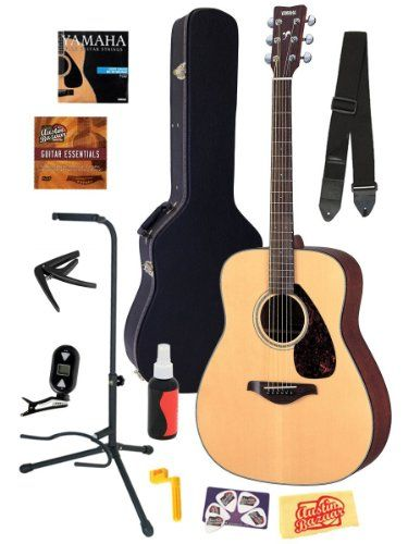 Best Acoustic Guitars Comparison 2015 | CrowdBest.com • Yamaha FG700S Folk Acoustic Guitar Bundle with Hard Case, Strap, Stand, Tuner, Strings, Picks, Capo, String Winder, and Instructional DVD - Natural