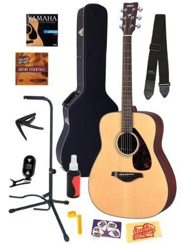 Best Acoustic Guitars Comparison 2015 | CrowdBest.com • Yamaha FG700S Folk Acoustic Guitar Bundle with Hard Case, Strap, Stand, Tuner, Strings, Picks, Capo, String Winder, and Instructional DVD - Natural