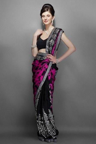 Pink & Black printed sari
