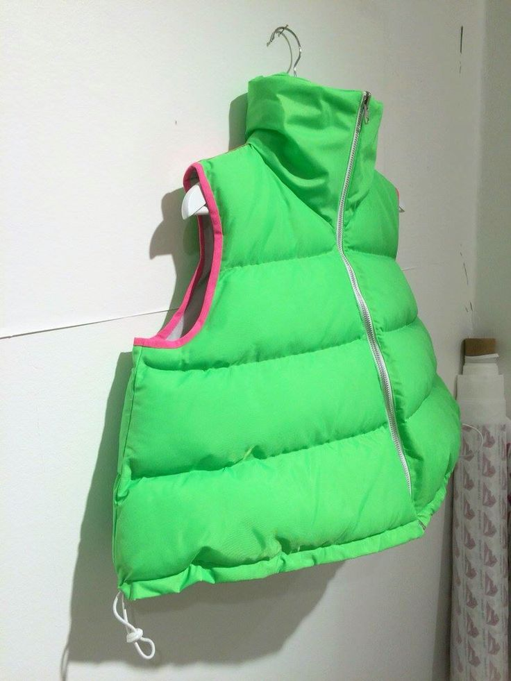 A-shaped vest in Neon Green with Neon pink detailing