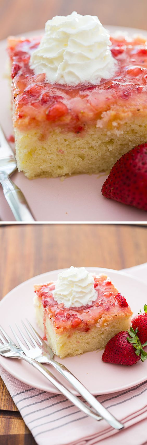 This tender little Strawberry Snack Cake recipe is super quick and easy -- and super delicious, with the flavor of fresh strawberries and whipped cream!