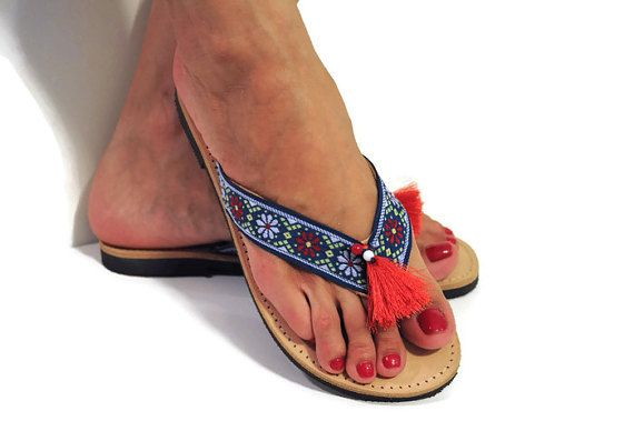 Blue leather flip flops, Greek sandals, ethnic sandals, ethnic flip flops, red  tassel sandals, blue sandals, Indian sandals, African sandal