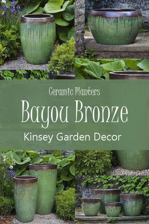 Kinsey Garden Decor Ceramic Planters Bayou Green Flower Pots Glazed Pottery Colorful Home Decorating Ideas Ceramic Planters Garden Decor Planters