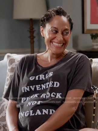 Rainbow's 'Girls Invented Punk Rock Not England' t-shirt on Black-ish
