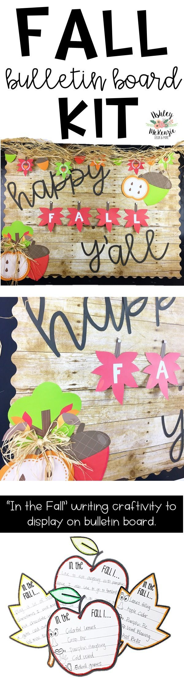 """Happy Fall Y'all"" Bulletin Board Kit. Cutest bulletin board for fall. Includes 5 senses writing activity for students!"