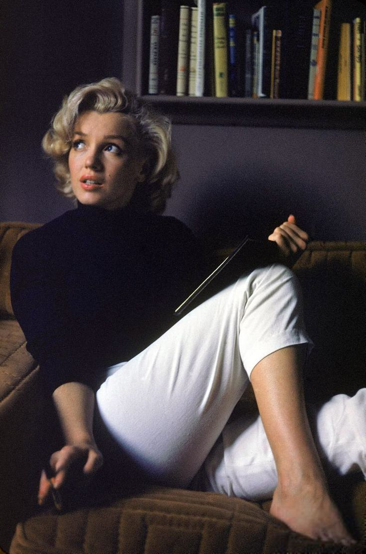 "Hollywood, 1953. ""Actress Marilyn Monroe at home."" 35mm color transparency by Alfred Eisenstaedt, Life magazine image archive"