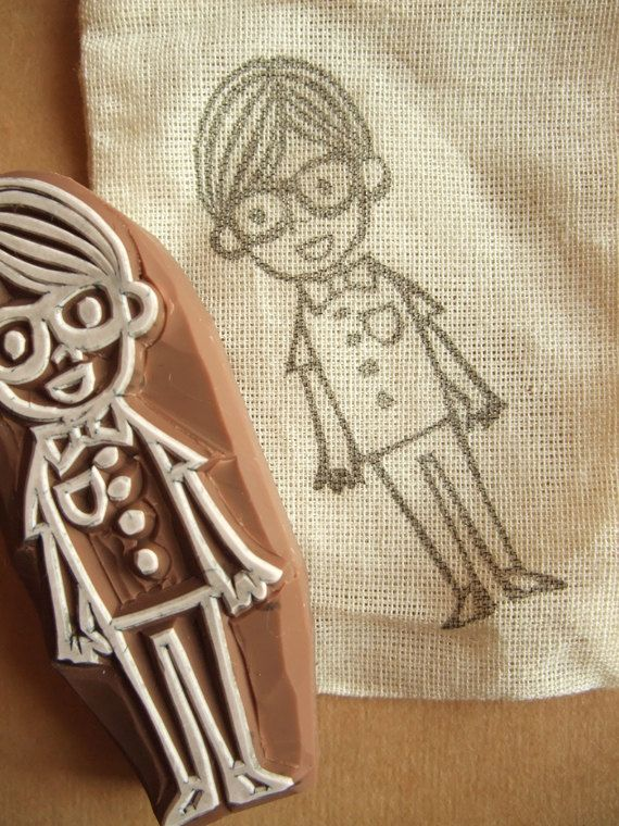 BOY with a pair of black frame glasses - rubber stamp - handmade - hand carved (lrs-boybfg)